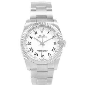 Rolex White 18K White Gold Diamond and Stainless Steel Oyster Perpetual 116034 Men's Wristwatch 36MM