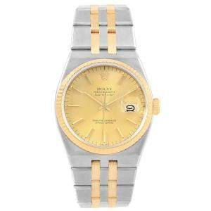 Rolex Champagne 18k Yellow Gold and Stainless Steel Oysterquartz Datejust 17013 Men's Wristwatch 36MM