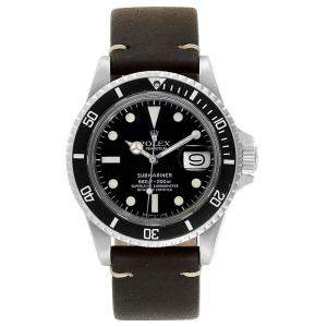 Rolex Black Stainless Steel and Leather Submariner 1680 Men's  Wristwatch 40MM