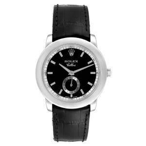 Rolex Black and Leather Cellini Cellinium 5241 Men's Wristwatch 35MM