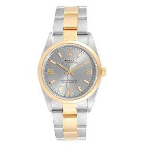 Rolex Silver 18K Yellow Gold And Stainless Steel Oyster Perpetual 14203 Men's Wristwatch 34 MM
