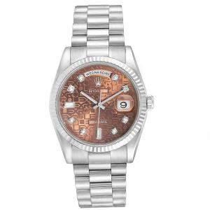 Rolex Bronze 18K White Gold President Day-Date 118239 Men's Wristwatch 36MM