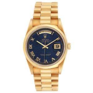 Rolex Blue Avanturine 18K Yellow Gold President 18208 Men's Wristwatch 36MM