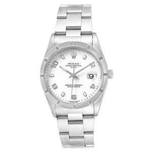 Rolex White and Stainless Steel Date 15210 Men's Wristwatch 34MM