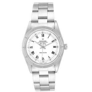 Rolex White Stainless Steel Air King 14010 Men's Wristwatch 34MM