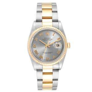 Rolex Slate 18K Yellow Gold and Stainless Steel Datejust 16233 Men's Wristwatch 36MM