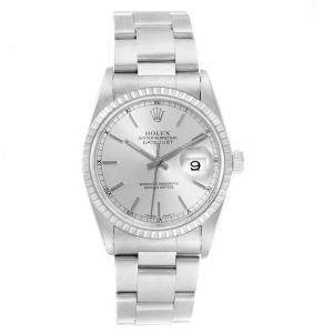 Rolex Silver and Stainless Steel Datejust 16220 Men's Wristwatch 36MM