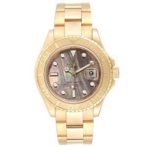 Rolex Black MOP 18K Yellow Gold Yachtmaster 16628 Men's Wristwatch 40 MM