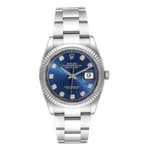 Rolex Blue 18K White Gold Diamond and Stainless Steel Datejust 126234 Men's Wristwatch 36MM