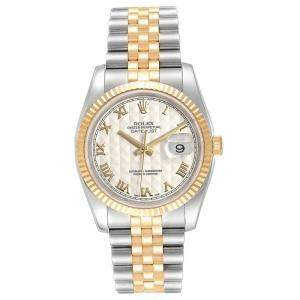 Rolex Ivory 18K Yellow Gold and Stainless Steel Datejust 116233 Men's Wristwatch 36MM