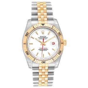 Rolex White 18K Yellow Gold and Stainless Steel Datejust Turnograph 116263 Men's Wristwatch 36MM