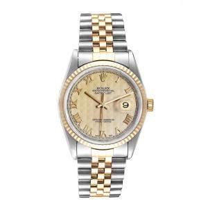 Rolex Ivory Pyramid 18K Yellow Gold Stainless Steel Datejust 16233 Men's Wristwatch 36MM