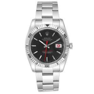 Rolex Black 18K White Gold And Stainless Steel Datejust Turnograph 116264 Men's Wristwatch 36 MM