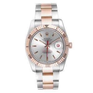 Rolex Silver 18K Rose Gold And Stainless Steel Turnograph Datejust 116261 Men's Wristwatch 36 MM