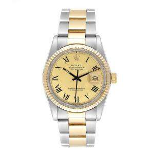 Rolex Champagne 14K Yellow Gold Stainless Steel Datejust 16013 Men's Wristwatch 36MM