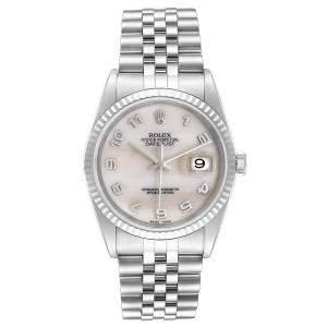 Rolex MOP 18K White Gold Stainless Steel Datejust 16234 Men's Wristwatch 36MM