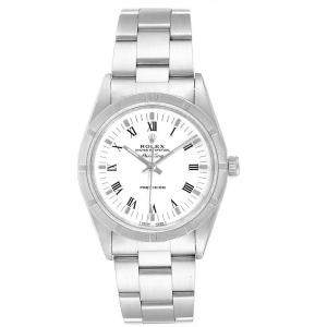 Rolex White Stainless Steel Air King 14010 Men's Wristwatch 34 MM