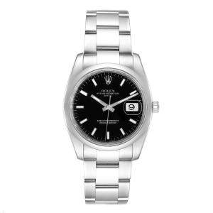 Rolex Black Stainless Steel Oyster Perpetual 115200 Men's Wristwatch 34 MM