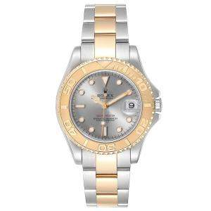 Rolex Slate Grey 18K Yellow Gold and Stainless Steel Yachtmaster 168623 Men's Wristwatch 35MM