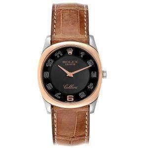 Rolex Black 18K Rose Gold And White Gold Cellini Danaos 4233 Men's Wristwatch 34 MM