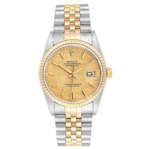 Rolex Champagne Linen 18K Yellow Gold Stainless Steel Datejust 16233 Men's Wristwatch 36 MM