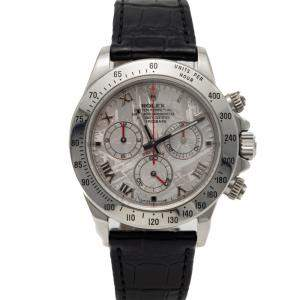 Rolex Stainless Steel Daytona Leather & Steel Strap Men's Watch 40MM