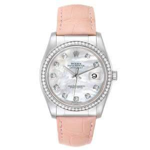 Rolex MOP Diamonds 18K White Gold Datejust 116189 Men's Wristwatch 36 MM