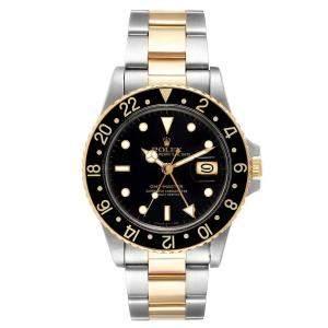 Rolex Black 18K Yellow Gold Stainless Steel GMT Master 16753 Men's Wristwatch 40 MM