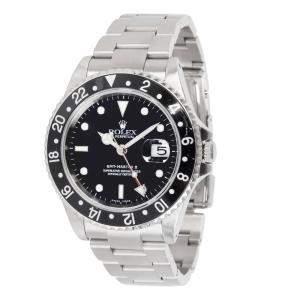 Rolex Black Stainless Steel GMT Master II 16710 Men's Wristwatch 40MM
