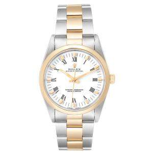Rolex White 18K Yellow Gold and Stainless Steel Oyster Perpetual 14203 Men's Wristwatch 34MM