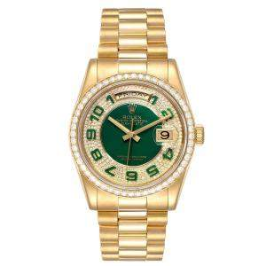 Rolex Enamel Green Diamond 18K Yellow Gold President Day Date Diamond 118348 Men's Wristwatch 36MM