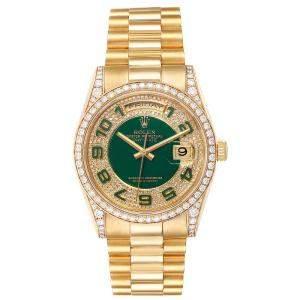 Rolex Enamel Green Diamond 18K Yellow Gold President Day Date Diamond 118388 Men's Wristwatch 36MM