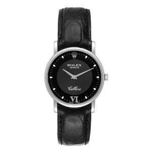Rolex Black 18K White Gold Cellini Classic 5115 Men's Wristwatch 32 MM