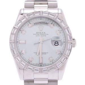 Rolex Ice Blue Platinum 10 Diamond Day Date 118366A Men's Wristwatch 36MM