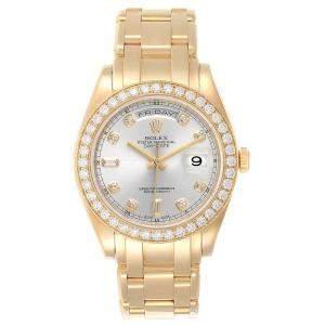 Rolex Silver Diamonds 18K Yellow Gold Day-Date Masterpiece Special Edition 18948 Men's Wristwatch 39 MM