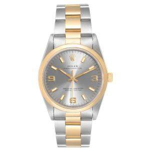 Rolex Slate 18K Yellow Gold and Stainless Steel Oyster Perpetual 14203 Men's Wristwatch 34MM