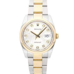 Rolex Silver Diamonds 18K Yellow Gold And Stainless Steel Datejust 116203 Men's Wristwatch 36 MM