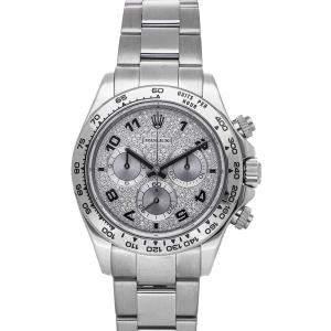 Rolex Silver Diamonds 18K White Gold Daytona 116509 Men's Wristwatch 40 MM