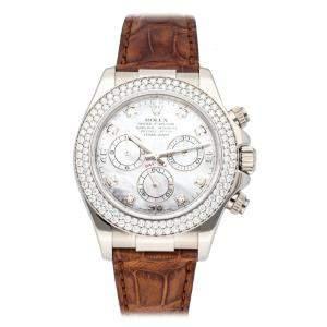 Rolex MOP Diamonds 18K White Gold Daytona 116589RBR Men's Wristwatch 40 MM