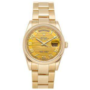 Rolex Champagne 18K Yellow Gold Day-Date 118208 Men's Wristwatch 36 MM