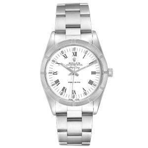 Rolex White Stainless Steel Air King \14010 Men's Wristwatch 34 MM