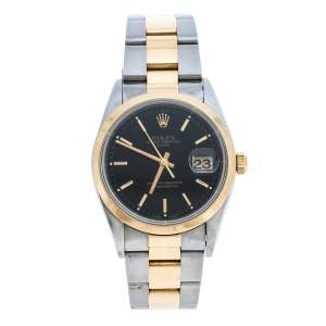 Rolex Black 18K Yellow Gold Stainless Steel Oyster Perpetual Date 15203 Men's Wristwatch 34 mm
