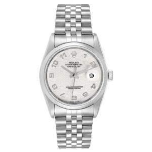 Rolex Silver Stainless Steel Datejust Anniversary Jubilee 16200 Men's Wristwatch 36 MM