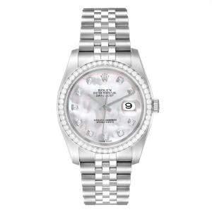 Rolex MOP Diamonds Stainless Steel Datejust 116244 Men's Wristwatch 36 MM
