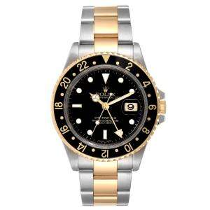 Rolex Black 18K Yellow Gold And Stainless Steel GMT Master II Chronometer 16713 Men's Wristwatch 40 MM
