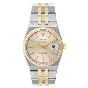 Rolex Silver 18K Yellow Gold And Stainless Steel Oysterquartz Datejust 17013 Men's Wristwatch 36 MM