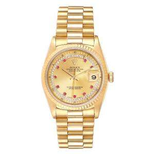 Rolex Champagne Diamond And Ruby 18K Yellow Gold President Day-Date 18238 Men's Wristwatch 36 MM