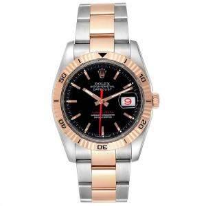 Rolex Black 18K Rose Gold Thunderbird Turnograph 116261 Men's Wristwatch 36 MM