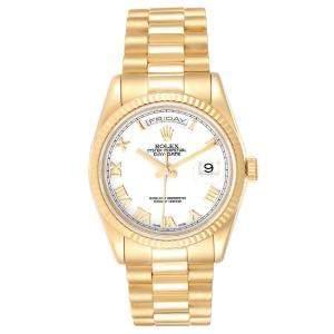 Rolex White 18K Yellow Gold President Day-Date 118238 Men's Wristwatch 36 MM