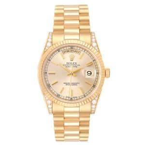 Rolex Champagne Diamonds 18K Yellow Gold President Day-Date 118338 Men's Wristwatch 36 MM